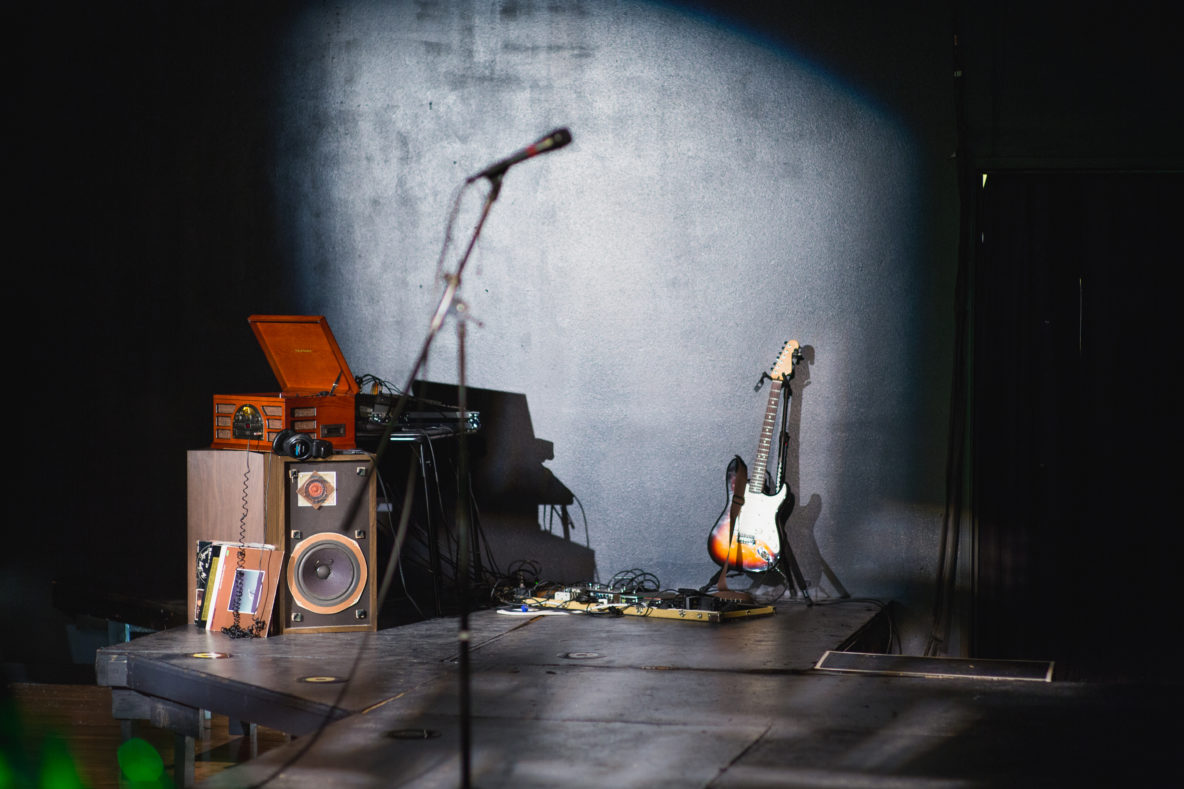 A houseband set up at tLab, Tricklock Company's blackbox theatre.