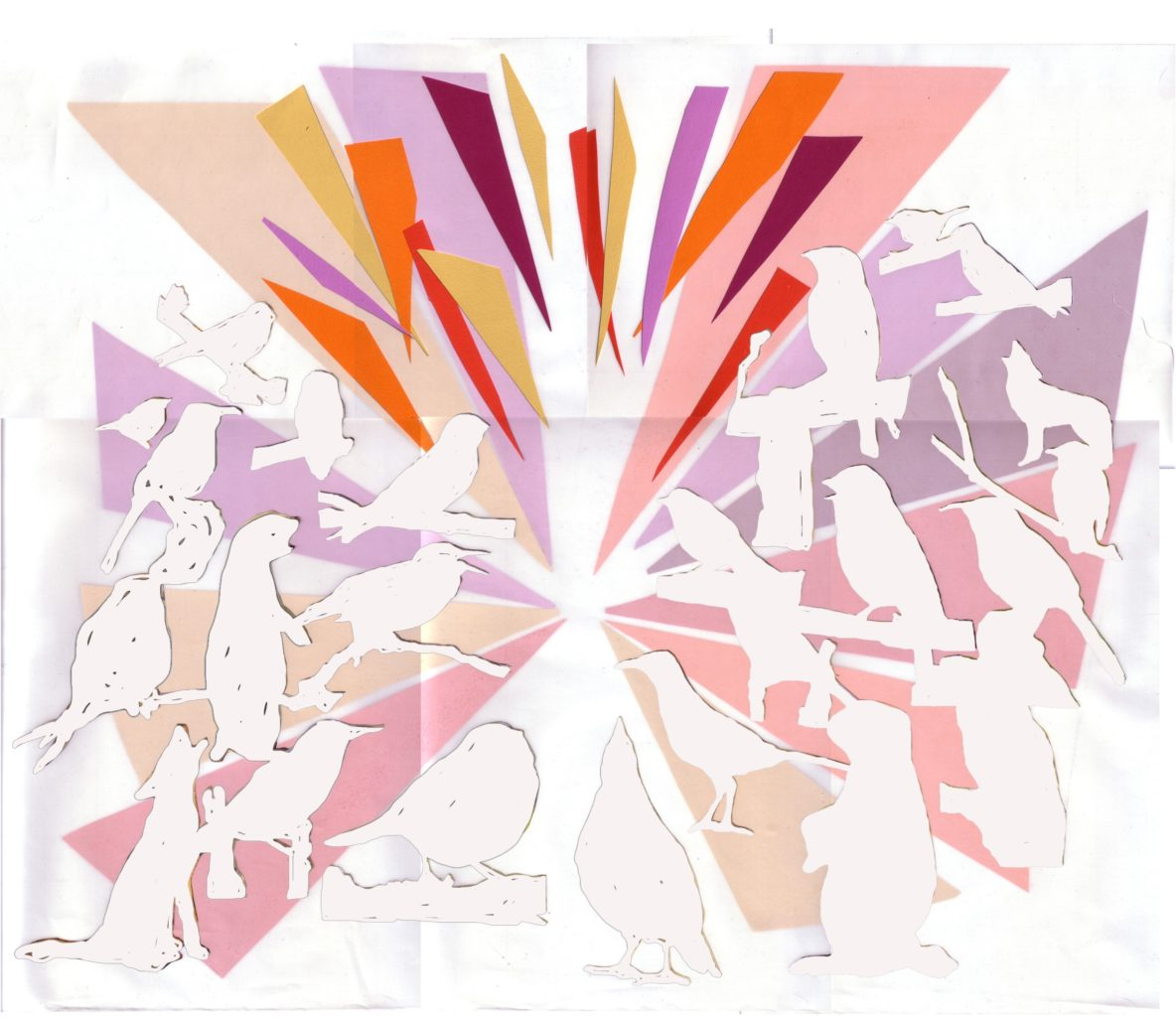 Pastel-colored graphic of flying and resting birds, with oragami-inspired triangle shapes throughout, for Migrant Songs, by Szu-Han Ho